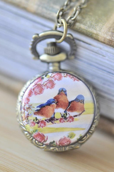 Handmade Artwork Stainless Steel Pocket Watch Necklace - Vintage Trio of Birds and Roses