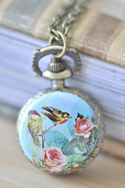 Handmade Artwork Stainless Steel Pocket Watch Necklace - Vintage Birds and Roses