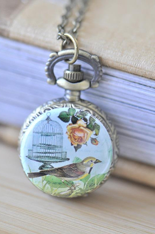 Handmade Artwork Stainless Steel Pocket Watch Necklace - Vintage Bird and Bird Cage