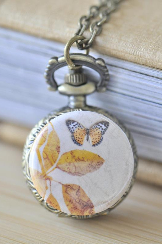 Handmade Artwork Stainless Steel Pocket Watch Necklace - Vintage Butterfly