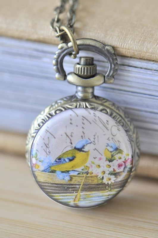Handmade Artwork Stainless Steel Pocket Watch Necklace - Vintage Love Birds