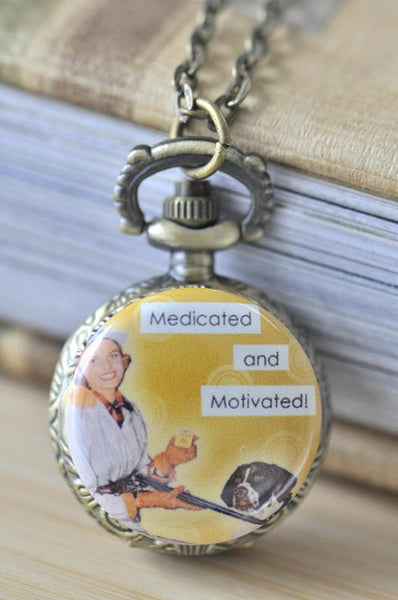 Handmade Artwork Stainless Steel Pocket Watch Necklace - Retro Pin Up Girl - Medicated and Motivated