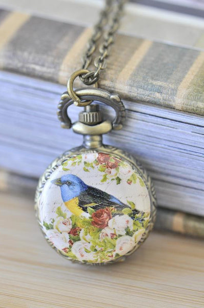 Handmade Artwork Stainless Steel Pocket Watch Necklace - Vintage Shabby Chic Bird