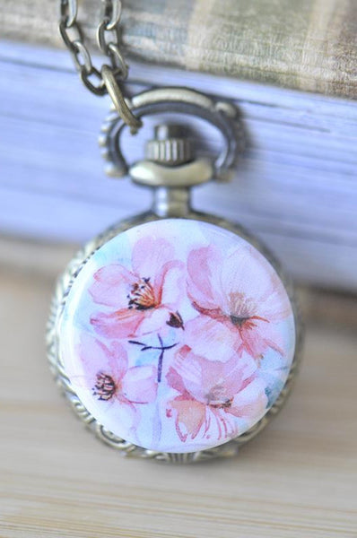 Handmade Artwork Stainless Steel Pocket Watch Necklace - Watercolour Flowers 2