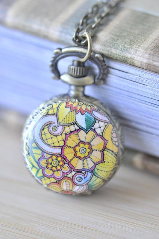 Handmade Artwork Stainless Steel Pocket Watch Necklace - Floral Ornament Swirls 1