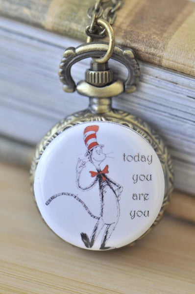 Handmade Artwork Stainless Steel Pocket Watch Necklace - Dr Seuss Inspired Today You Are You