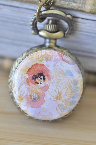 Handmade Artwork Stainless Steel Pocket Watch Necklace - Watercolour Flowers 4