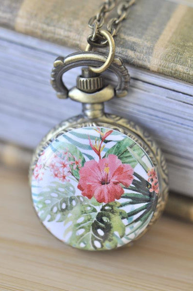 Handmade Artwork Stainless Steel Pocket Watch Necklace - Watercolour Flowers 8
