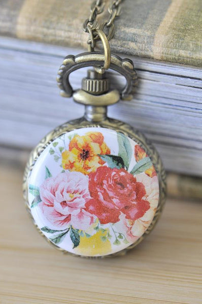 Handmade Artwork Stainless Steel Pocket Watch Necklace - Watercolour Flowers 6
