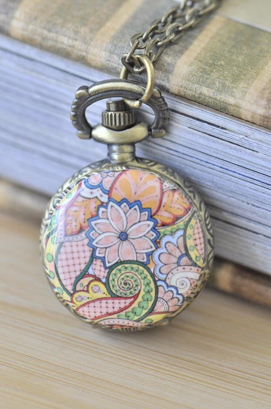 Handmade Artwork Stainless Steel Pocket Watch Necklace - Floral Ornament Swirls 3