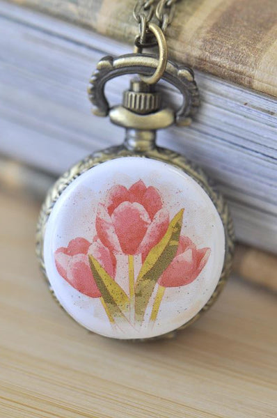 Handmade Artwork Stainless Steel Pocket Watch Necklace - Watercolour Tulips