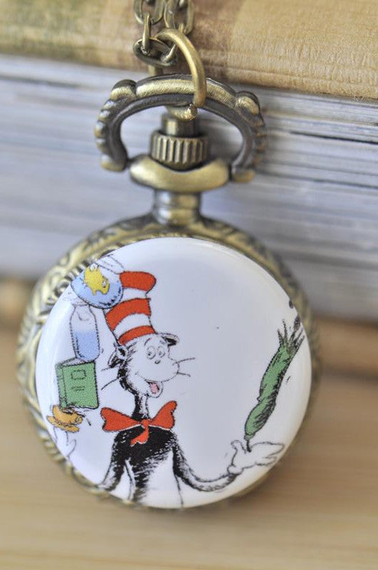 Handmade Artwork Stainless Steel Pocket Watch Necklace - Dr Seuss Inspired Image