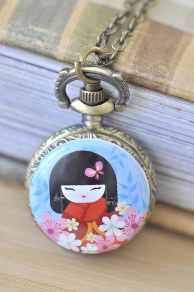 Handmade Artwork Stainless Steel Pocket Watch Necklace - Japanese Kokeshi Doll - Blue