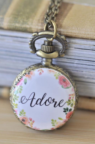 Handmade Artwork Stainless Steel Pocket Watch Necklace - Motivational Sayings - ADORE