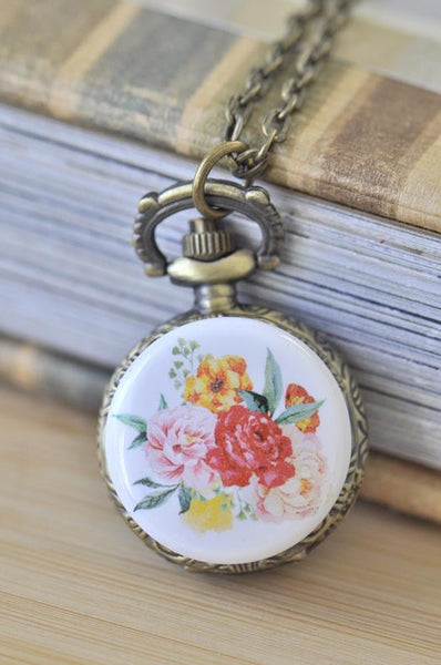 Handmade Artwork Stainless Steel Pocket Watch Necklace - Watercolour Flowers 9