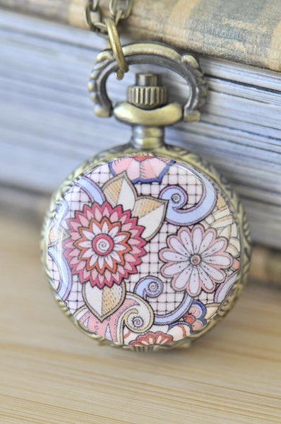 Handmade Artwork Stainless Steel Pocket Watch Necklace - Floral Ornament Swirls 4