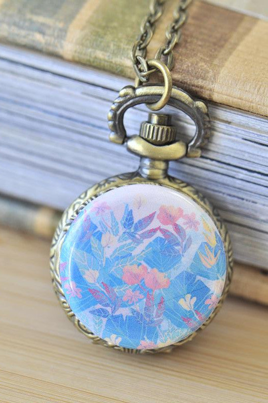 Handmade Artwork Stainless Steel Pocket Watch Necklace - Watercolour Flowers 11