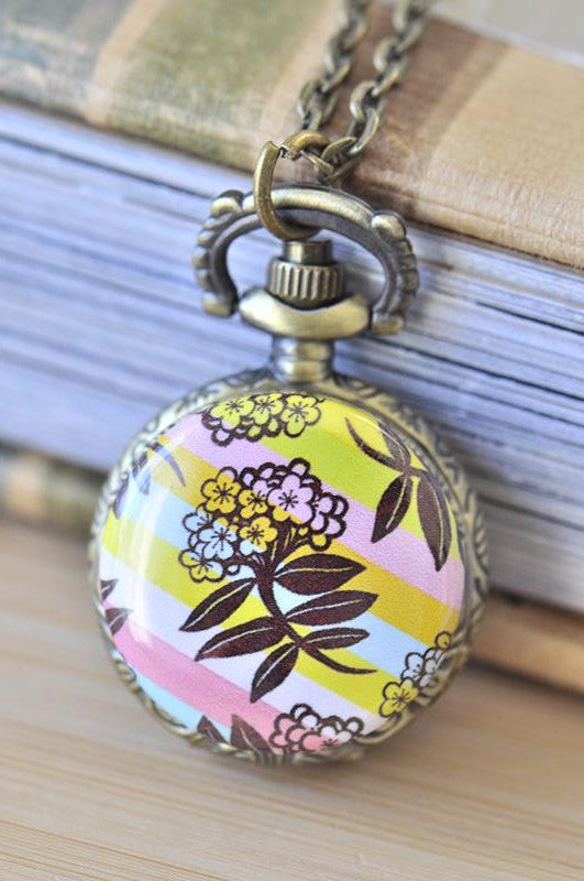 Handmade Artwork Stainless Steel Pocket Watch Necklace - Flower and Stripes