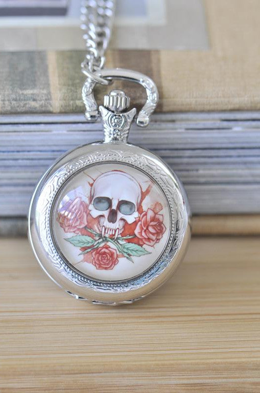 Handmade Artwork Stainless Steel Pocket Watch Necklace - Medium - Skull and Rose