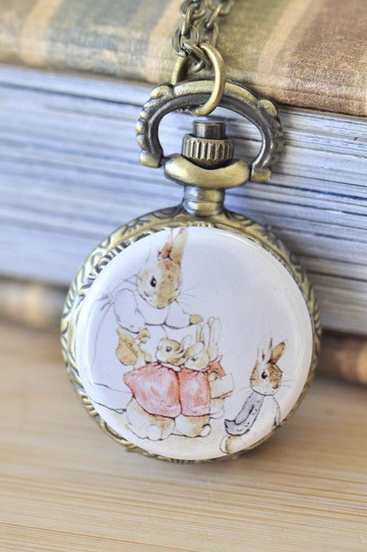 Handmade Artwork Stainless Steel Pocket Watch Necklace - Motivational Sayings - BEATRIX POTTER PETER RABBIT