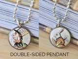 Handmade 20mm DOUBLE-SIDED Resin Pendant Necklace - Alice In Wonderland Mad Hatter and White Rabbit