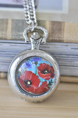 Handmade Artwork Stainless Steel Pocket Watch Necklace - Medium - Poppies