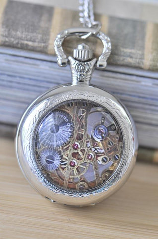 Handmade Artwork Stainless Steel Pocket Watch Necklace - Medium - Steampunk Mechanical Movements