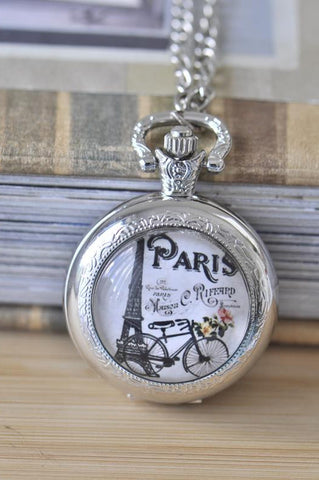 Handmade Artwork Stainless Steel Pocket Watch Necklace - Medium - Bicycle In Paris
