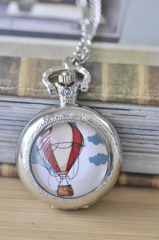 Handmade Artwork Stainless Steel Pocket Watch Necklace - Medium - Hot Air Balloon