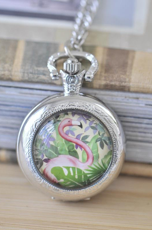Handmade Artwork Stainless Steel Pocket Watch Necklace - Medium - Tropical Flamingo