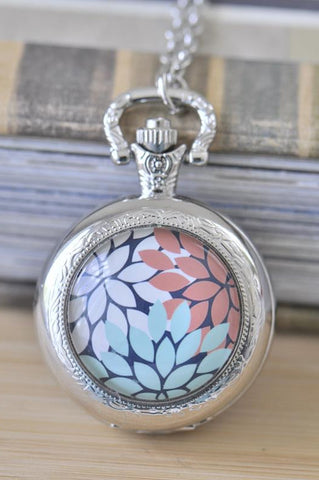 Handmade Artwork Stainless Steel Pocket Watch Necklace - Medium - Flowers