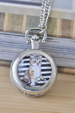 Handmade Artwork Stainless Steel Pocket Watch Necklace - Medium - Cat