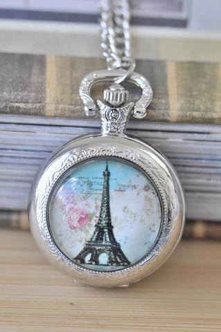 Handmade Artwork Stainless Steel Pocket Watch Necklace - Medium - Paris Eiffel Tower