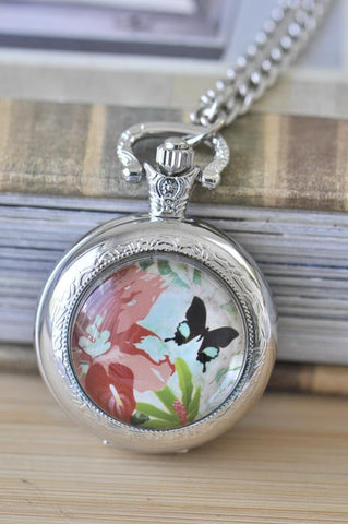 Handmade Artwork Stainless Steel Pocket Watch Necklace - Medium - Butterfly Flower