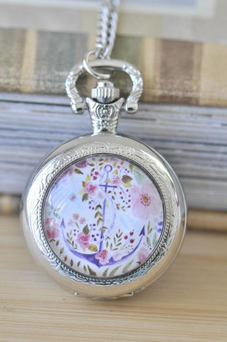 Handmade Artwork Stainless Steel Pocket Watch Necklace - Medium - Watercolour Flower and Anchor