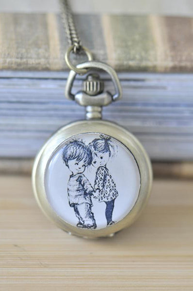 Handmade Artwork Stainless Steel Pocket Watch Necklace - Boy Girl Moppet Sketch