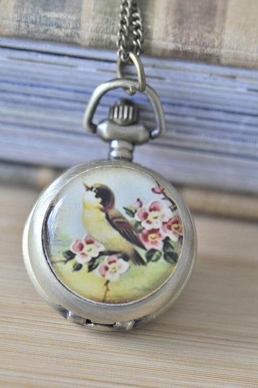 Handmade Artwork Stainless Steel Pocket Watch Necklace - Vintage Song Bird