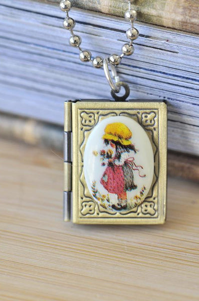 Holly Hobbie Photo Book Locket Necklace