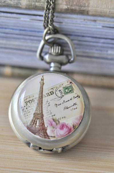 Handmade Artwork Stainless Steel Pocket Watch Necklace - Paris Eiffel Tower and Postcard
