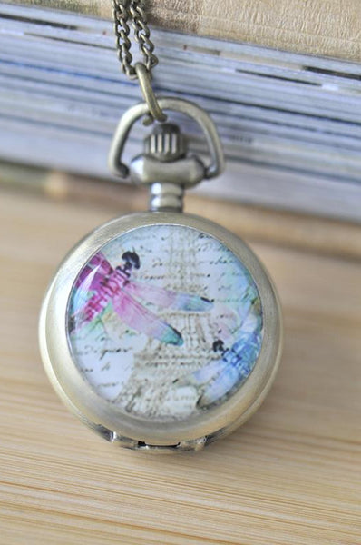 Handmade Artwork Stainless Steel Pocket Watch Necklace - Dragonfly Paris Eiffel Tower 2