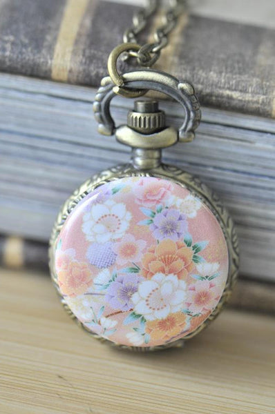 Handmade Artwork Stainless Steel Pocket Watch Necklace -Japanese Oriental Sakura - Pink