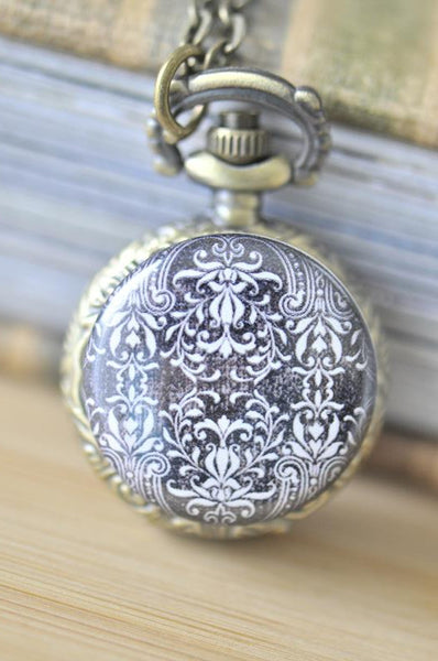 Handmade Artwork Stainless Steel Pocket Watch Necklace - Black and White Floral Ornament