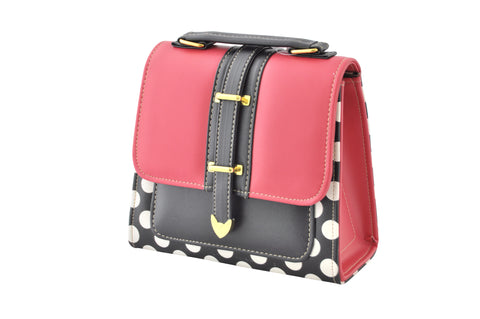 962510f8aa82 Retro Red and Black Polkadot Box Handbag