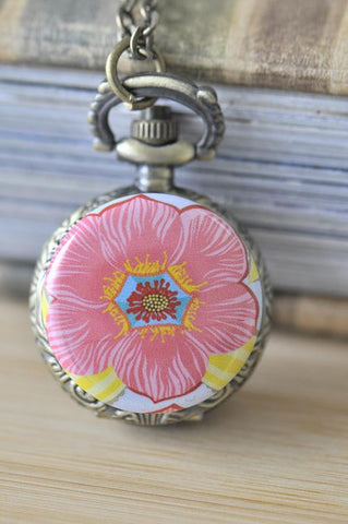 Handmade Artwork Stainless Steel Pocket Watch Necklace - Large Flower