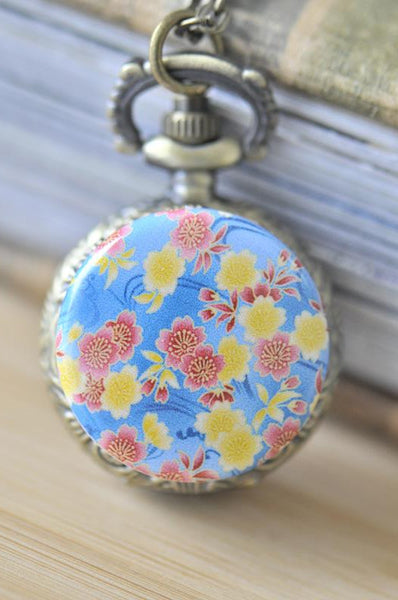 Handmade Artwork Stainless Steel Pocket Watch Necklace -Japanese Oriental Sakura - Blue
