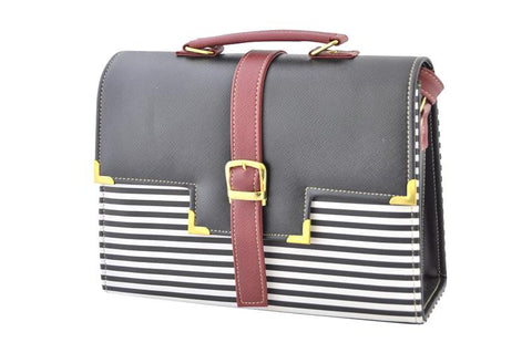 Belt Strap Striped Satchel Handbag in Black and Maroon