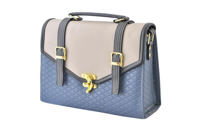 Turnlock Satchel Bag in Brown - Blue