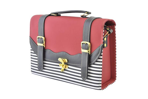 Back to School Double Strap Stripe Satchel in Red and Black