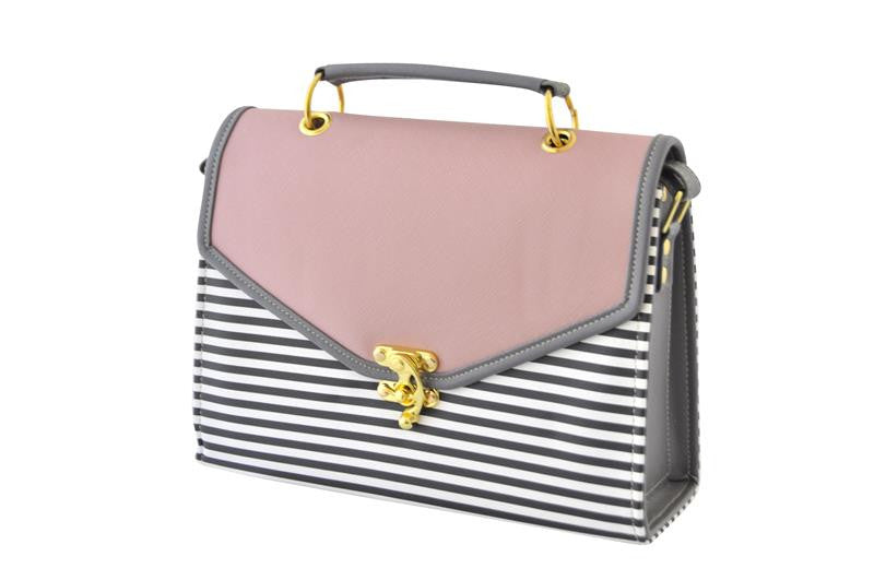 Pink and Stripes Contrast Envelope Satchel Bag