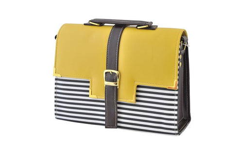 Belt Strap Striped Satchel Handbag in Yellow and Brown
